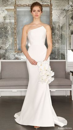 romona keveza bridal spring 2017 strapless asymmetric neck trumpet wedding dress (rk7403) mv