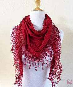Scarf  RED with richly frilled edge  by OriginalDesignsByAR
