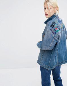 Image 1 ofMonki Embroidered Organic Denim Jacket