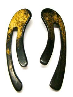 gold leaf on ebony earrings by RLM 1981