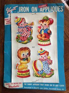 Vintage Vogart Iron On Fabric Appliques -Circus Set Children