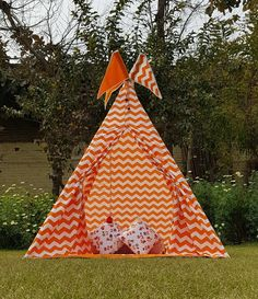 Tent House For Kids, House Tent, Kids Teepee Tent, Play Tents, Teepees, Viking Tent, Shark Pillow, Orange Chevron, Pink Crown
