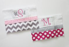 2 Personalized Burp Cloth Set in Pink and Gray - Chevron and Polka Dots on Etsy, $17.00