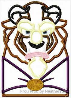 Beasty head and shoulders Bella Machine Applique Embroidery Design, multiple sizes, including 4 inch