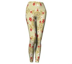 Red Flowers Leggings, Leggings by Brittany Bonnell. Printed leggings with compression fit performance fabric milled in Montreal Design Lab, Printed Leggings, Workout Leggings, Red Flowers, Vibrant, Stockings, Spandex, Fitness, Fabric