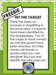 FREE Fun math activity using addition to solve a mystery. There has been an increase in shoplifting in the local area. Six suspects have been identified by the shopkeepers. Two of the suspects have owned up and the goods have been returned, but their Alphabet Number Code, Relief Teacher, Fun Math Activities, Higher Order Thinking, Math Task Cards, Substitute Teacher, Thematic Units, Critical Thinking Skills, Math Concepts