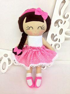 Cloth Doll Fabric Dolls Soft Dolll Handmade by SewManyPretties, $46.00 #girlbirthday #girlgift #firstbirthday