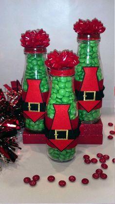 Santa Belt Jars - Made with Starbucks jars, ribbon, red paint, iron on santa belt, red bow and MMs