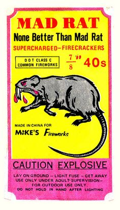 Mad Rat fireworks - by JasonLiebig Firework Stands, Vintage Fireworks, Matchbox Art, Design Graphique, Firecracker, Branding, Retro Art, Illustrations, Mellow Yellow