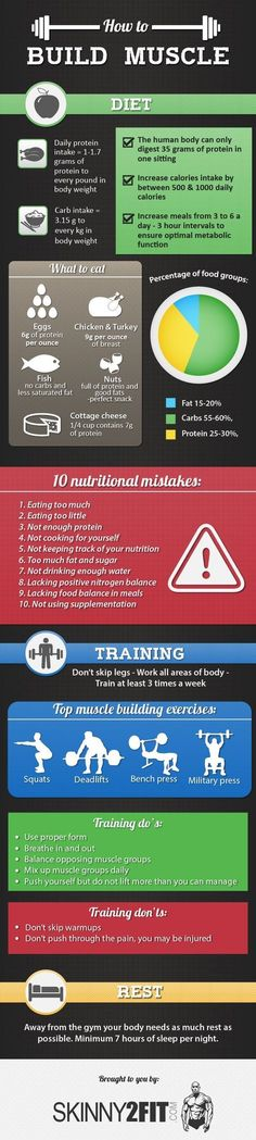 Learn how to build muscle. From what to eat to how to train. This infographic will help you build lean muscle mass. #infographics #fitness #MuscleFitness
