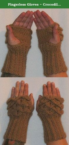 """Fingerless Gloves ~ Crocodile Stitch Fingerless Gloves ~ Dragon Scale Fingerless Gloves ~ 100% Fawn Alpaca Wool ~ Ready to Ship. These fingerless gloves are made with 100% Fawn Huacaya Alpaca fiber. Shearing is the process of removing the wool from an animal...basically giving the animal a """"hair cut"""". The alpaca that was sheared for the wool was named Vicking Spirit. The raising and shearing of this alpaca was on Northern Outback Oasis in Negaunee, MI."""