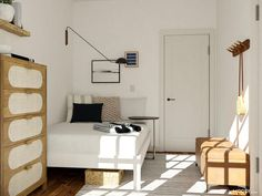 Design Ideas for a tiny bedroom space! Small Apartment Furniture, Small Bedroom Furniture, Furniture Design, Laundry Room Layouts, Bedroom Layouts, Tiny Bedroom Design, Simple Bed Frame, Small Space Living, Small Space Bedroom