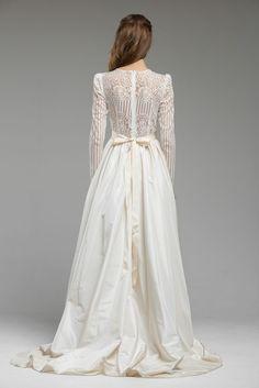 WITH SLEEVES   Magnolia Gown, Pin Stripe Lace from Katya Katya Shehurina.