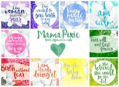 Beautiful Positive Birth Affirmation cards by MamaPixie. This listing is for the Magnolia Rainbow design.  These are perfect for putting on your birthing altar, placing around your home or tucked into the corner of mirrors to remind you during pregnancy of your strength and to reaffirm your awareness of trust in your body, your birth, and your baby.
