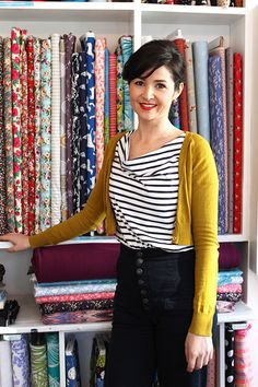 Sew Over It Cowl Neck Top in striped breton jersey. Looks great paired with high-waisted jeans and a cropped mustard cardigan. Get the pattern here: http://sewoverit.co.uk/product/cowl-neck-dress-pdf-sewing-pattern/