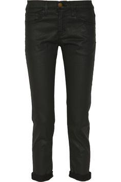 Current/Elliott The Fling coated stretch-denim jeans NET-A-PORTER.COM
