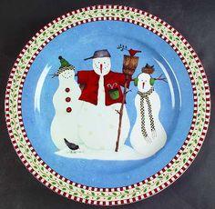 Debbie Mumm Snowman Dishes & Debbie MUMM Snow Angel w/Bells Christmas Plate | Christmas in August ...