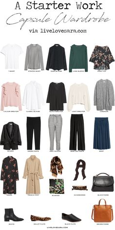 A Starter Work Capsule Wardrobe. Starter Work Capsule Wardrobe via livelovesara. When it comes to work, capsule wardrobes are your friend. It helps you to have a nice, curated collection of work appropriate pieces that streamline Capsule Wardrobe Work, Capsule Outfits, Fashion Capsule, Work Wardrobe Essentials, Work Outfits, Wardrobe Basics, Simple Wardrobe, Office Wardrobe, Wardrobe Staples