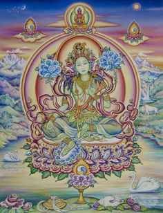 Thangka Sacred Art Gallery - Green Tara in Sandalwood Forest