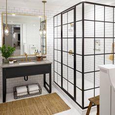 Guest bathroom with steel shower enclosure Bathroom Interior Design, Decor Interior Design, Bathroom Plans, Basement Bathroom, Family Bathroom, Bathroom Layout, Bathroom Remodeling, Remodeling Ideas, Shower Enclosure
