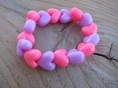 Girls Bracelet- Beaded Children's Jewelry- Purple, Pink Hearts. $4.00, via Etsy.