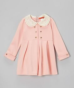 Look what I found on #zulily! Pink Bell Pearl Collar Dress - Girls #zulilyfinds