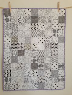 Modern Baby Quilt black and white ispy by littlecolleydesign
