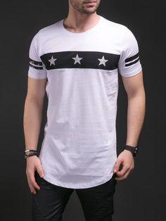N&R Men 3 Stars Chest Band T-shirt - White