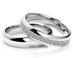 ON SALE Platinum His and Hers Wedding Rings,Matching Wedding Bands,Platinum Diamond Wedding Rings,Couple Wedding Bands,Matching Wedding Ring