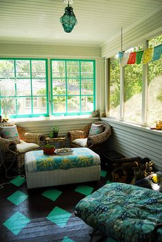 Colors are gorgeous here. Love the painted floor, reminds me of @ Young House Love's old sunroom. Enclosed Patio, Half Walls, Decoration Inspiration, Screened In Porch, Front Porch, Painted Floors, My New Room, Home Interior, My Dream Home