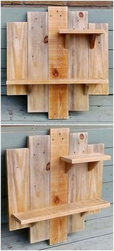 Incredible Do It Yourself Pallet Projects and Plans Mostly in the house wall areas you will probably view the amazing wall shelf designs. Here we have the simple and yet innovative designed creation of all shelf piece for you. Grab it! You will be finding Wooden Pallet Projects, Diy Furniture Plans Wood Projects, Easy Wood Projects, Wooden Pallets, Pallet Ideas, Pallet Furniture, Project Ideas, Furniture Ideas, Wood Ideas