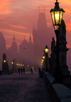 At Pre-Night Charles Bridge, Prague Czech Republic: