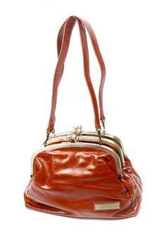 Caramel color clasp bag