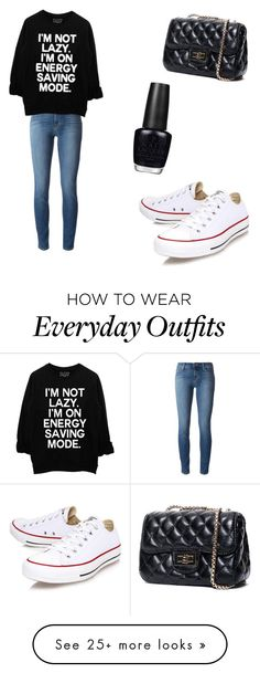 """Everyday outfit"" by aleenapanchal on Polyvore featuring J Brand, Converse and OPI"