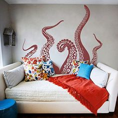 Tentacles Wall Decal Kraken Octopus Tentacles Wall Sticker Sea Animal Wall Decal Mural Home Art Decor Dark Red DigTour WallArt http://www.amazon.com/dp/B00RB3V7DI/ref=cm_sw_r_pi_dp_Tb6Uvb0THXSEB