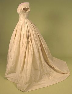 Trained Cream Silk Ballgown, 1860s. Proof that some things never go out of style.