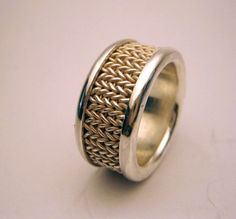Stockinette sterling silver ring $330