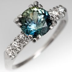 No Heat Bright Blue-Green Sapphire Engagement Ring 1950's Mount