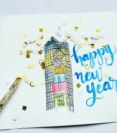Times Square New Year 2016 • Watercolor Illustration
