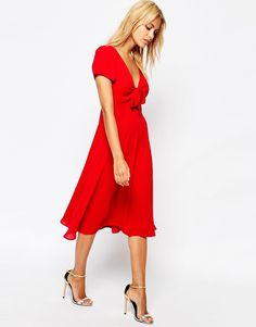 Image 1 of Love Bow Front Midi Dress