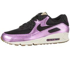 Nike Women\u0026#39;s Air Max 90 Premium - Black / Laser Purple-Sail-Gym Medium