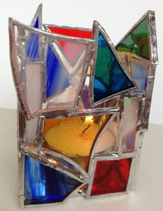 Stained Glass Teallight Candle Holder via Etsy