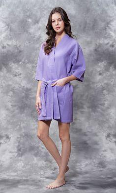 Waffle Kimono Lavender Short Robe