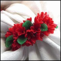 Red Glass Flower Bracelet Cha Cha Bangle Vintage 1950s Jewelry $75