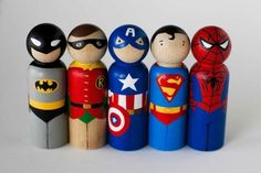 """SUPERHERO Peg Doll Set by TwoWildOlives-the perfect gift for the superhero loving child, or child within you. Figures are 3.5"""" tall, hand painted to look like your favorite characters. Non toxic acrylic paint and satin varnish make these guys durable and safe!"""