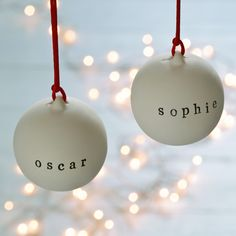 This ceramic bauble with personalised detail makes a lovely Christmas gift and will look stunning in any home.  Your choice of word will be stamped by hand on the front of the ceramic bauble. The ceramic bauble has a traditional, unglazed finish and should be handled with care. Each bauble is handmade and may vary slightly in shape, size and colour. Your bauble will be hand-finished with your personalised message rubber stamped onto the front. This will ensure every one is unique, and some…