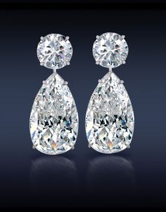 Teardrop Diamond Earrings by Jacob & Co.: Two Perfectly Matched Brilliant Cut Pear Shape Diamonds, GIA Certified E & E Topped With Two F & G Round Brilliant Cut Diamonds Elegantly Mounted in White Gold Pear Shaped Diamond, Diamond Cuts, Diamond Jewelry, Diamond Earrings, Silver Earrings, Silver Ring, Earrings Uk, Simple Earrings, Opal Jewelry