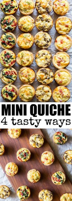 Mini Quiche 4 Ways Skip the store-bought and make your own Mini Quiche! Try these 4 tasty combos or choose your own adventure. Make ahead/freezer friendly and great for kids! via Culinary Hill The post Mini Quiche 4 Ways appeared… Continue Reading → Easy Brunch Recipes, Appetizer Recipes, Breakfast Recipes, Breakfast Casserole, Brunch Appetizers, Dinner Recipes, Breakfast Finger Foods, Mini Appetizers, Breakfast Ideas