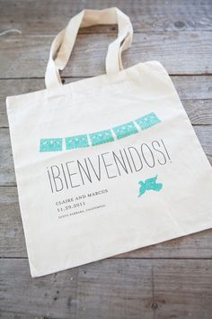 Bienvenidos Wedding Tote Bag Customized by luckyenvelope on Etsy