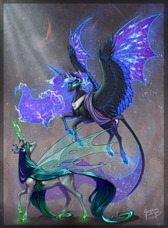 Pegasus Looks like Nightmare Moon and Chrysalis fantasy creatures My Little Pony Fotos, Imagenes My Little Pony, My Little Pony Pictures, Mlp My Little Pony, Mystical Animals, Mythical Creatures Art, Fantasy Creatures, Creature Drawings, Animal Drawings